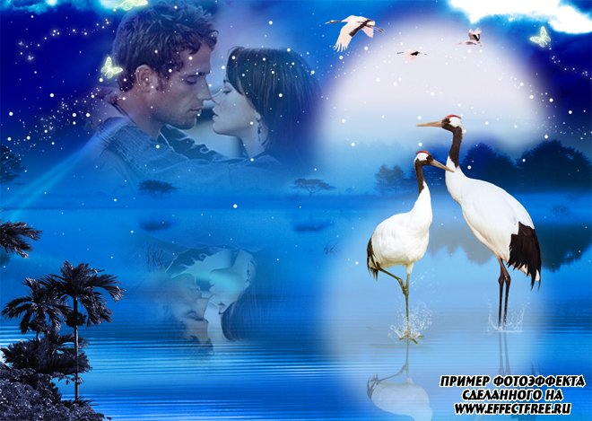 Красивый романтический фотоэффект на фоне ночного заката с отражением в воде, сделать онлайн