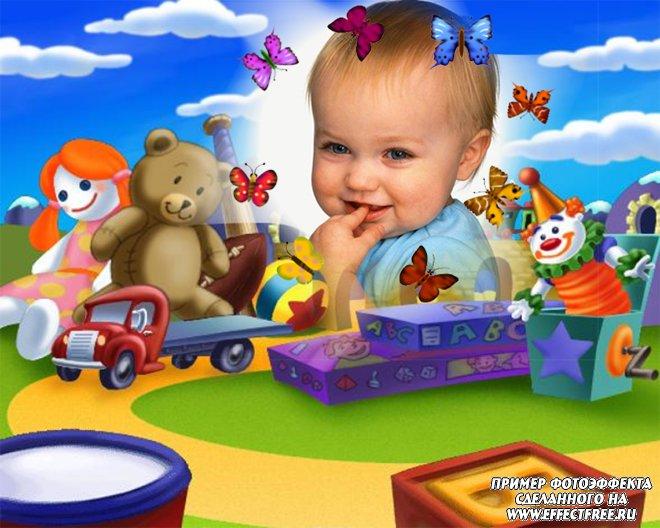 Фоторамка для детей с детскими игрушками, вставить фото онлайн