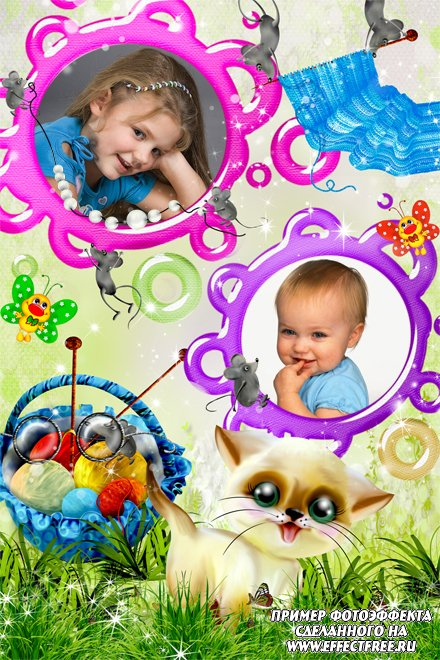 Рамочка для фото кошки-мышки, сделать в онлайн фотошопе