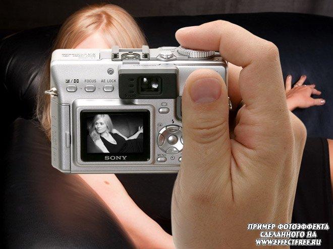 Фотоэффект на экране фотоаппарата, вставить фото онлайн