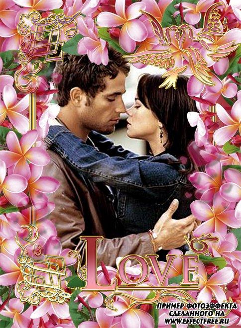 Рамка с розовыми цветами и надписью Любовь, вставить фото онлайн