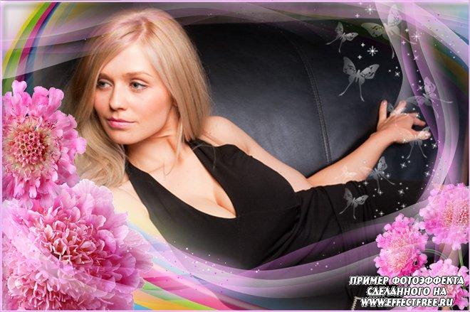 Рамочка-накладка на фото в розовых тонах с цветами, сделать онлайн
