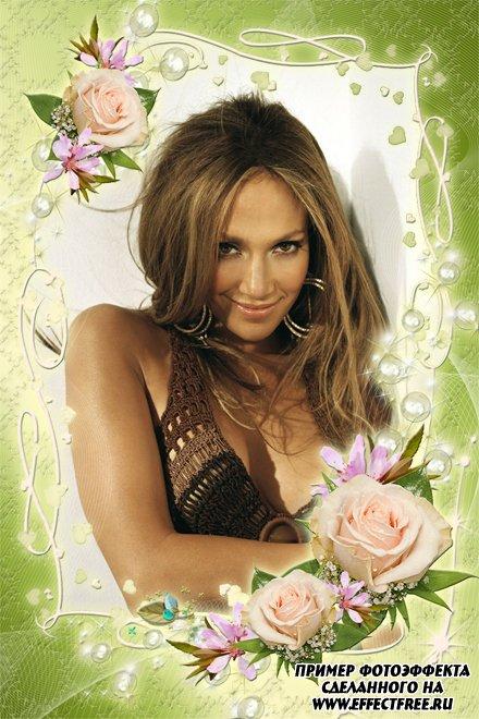 Качественная рамочка для фото с чудесными розами, сделать онлайн фотошоп