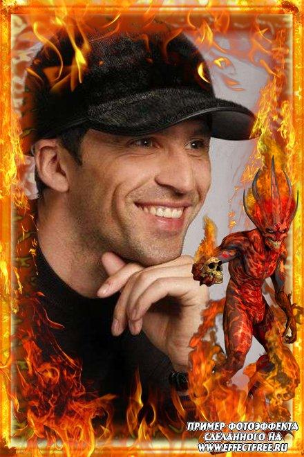 Огненная рамка с дьяволом для фото, вставить фото в рамку онлайн
