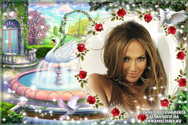 Рамка для фото с белым лебедем и голубями в чудесном саду, сделать онлайн фотошоп