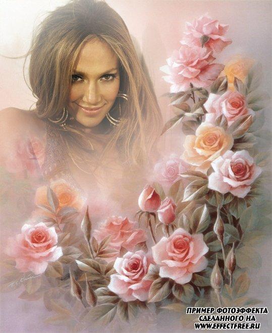 Нежный фотоколлаж на фоне красивых розовых роз, вставить фото онлайн