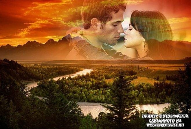 Красивый романтический фотоколлаж на фоне неба, реки и леса, сделать онлайн