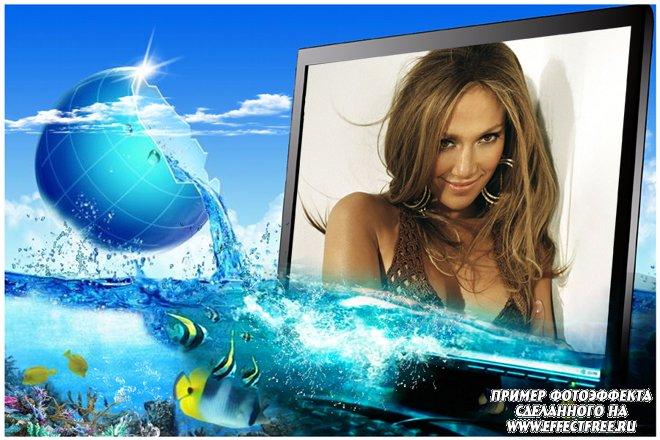 Фоторамка на фоне моря с рыбками, сделать в онлайн фотошопе