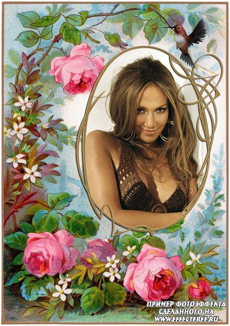 Фоторамочка для фото с винтажными розами, сделать в онлайн фотошопе
