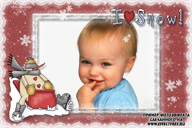 Детская зимняя рамка для фото со снеговиком, сделать онлайн фотошоп