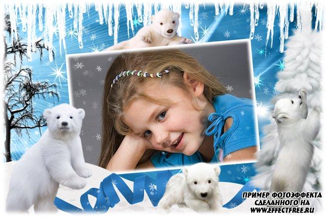 Фоторамка с милыми белыми мишками, вставить фотов рамку онлайн