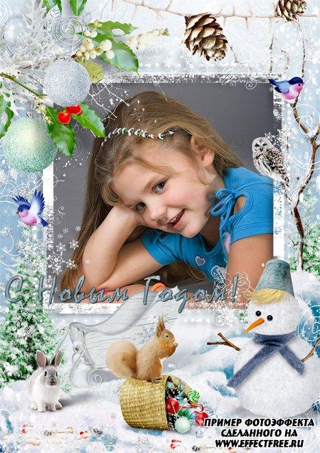 Новогодняя рамочка для фото со снеговиком, вставить фото онлайн