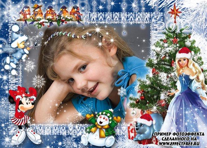 Детская новогодняя рамочка с Барби-снегурочкой, вставить фото онлайн