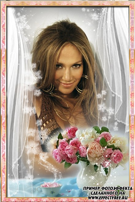 Рамка с розами и лепестками роз, сделать в онлайн фотошопе