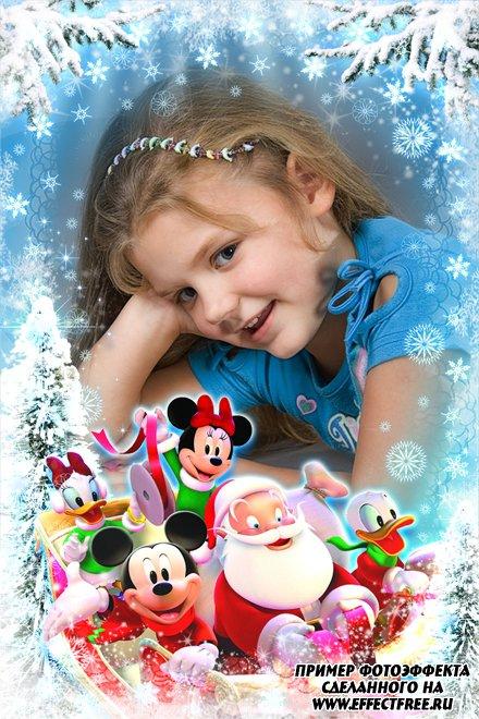 Рождественская рамочка для фото с Сантой и мультяшками, сделать онлайн фотошоп