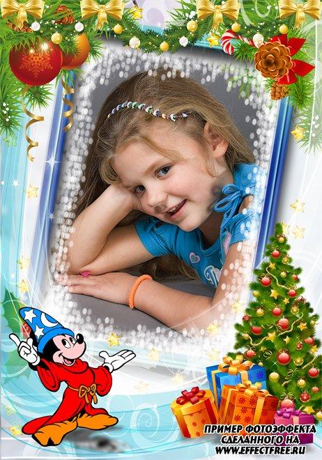 Сделать фоторамку с озорным Микки и новогодней елкой, онлайн фотошоп