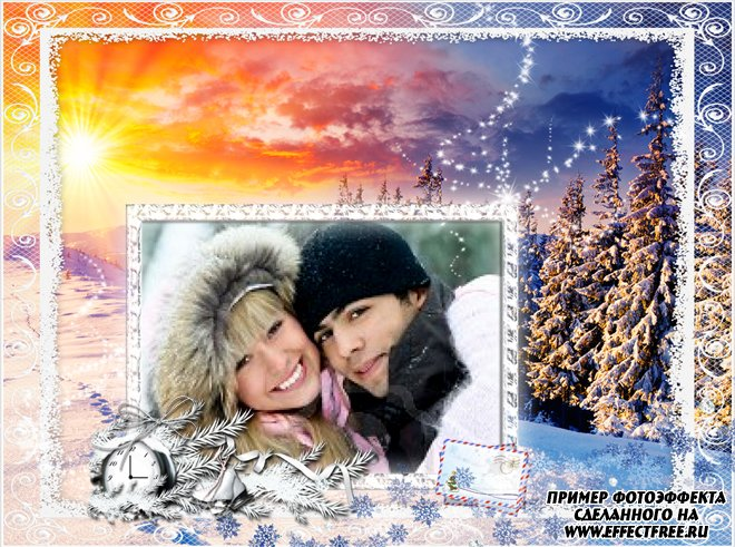 Новая рамка на зимнюю тему, вставить фото в рамку онлайн