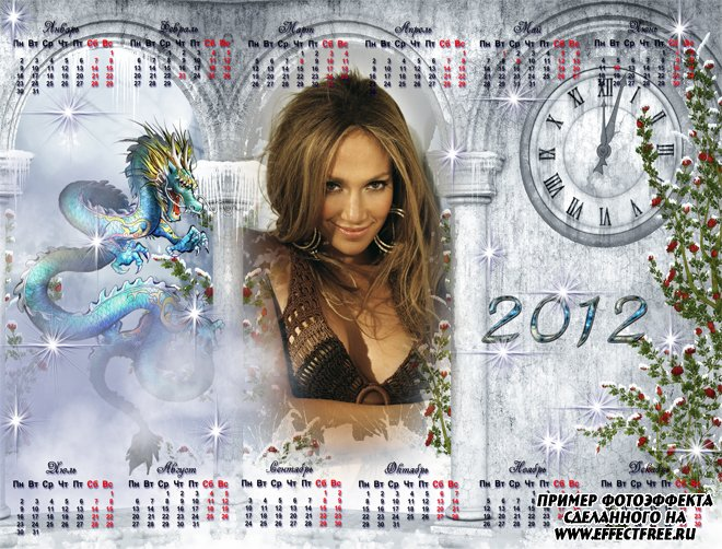 Календарь 2012 с драконом и часами, сделать в онлайн фотошопе