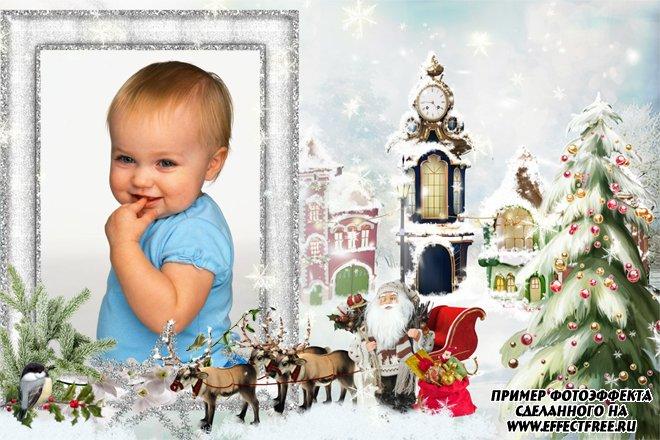 Рамка к Рождеству с Сантой и оленями, вставить фото в рамку онлайн