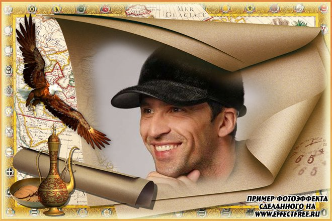 Фоторамка на фоне карты с белоголовым орлом, сделать онлайн фотошоп