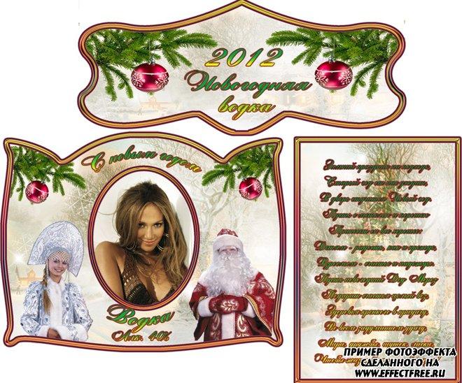 Новогодняя этикетка на бутылку водки с дедом Морозом и Снегурочкой, сделать онлайн