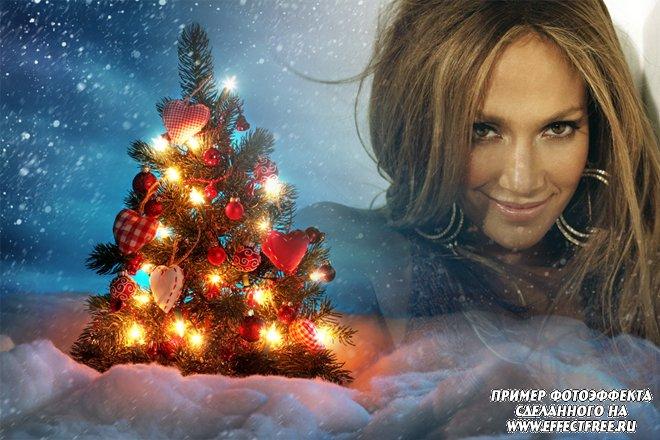 Красивый фотоколлаж с новогодней елочкой, вставить фото онлайн