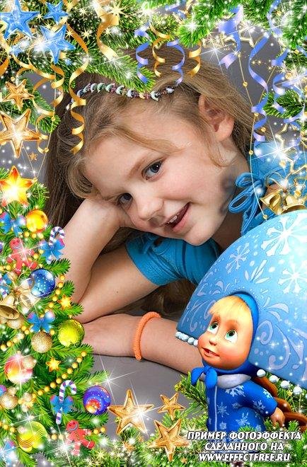 Новая новогодняя рамочка с Машенькой-снегурочкой, вставить фото в рамку онлайн