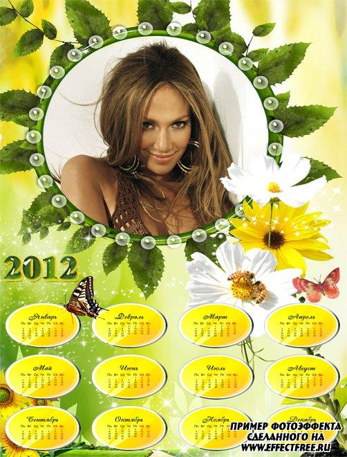 Календарь на 2912 год с яркими ромашками и бабочкой, сделать онлайн фотошоп