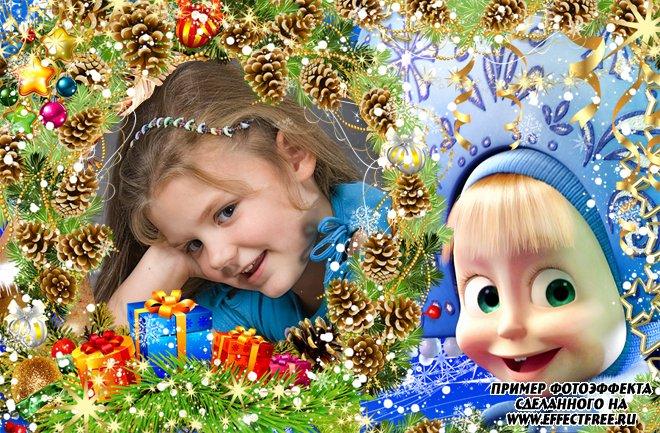 Яркая новогодняя рамка с Машей, вставить фото в детскую рамку онлайн