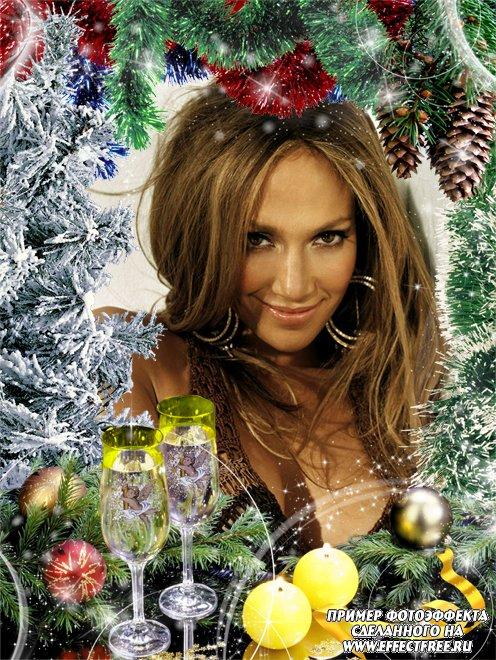 Яркая новогодняя рамка с мишурой, елкой и бокалами с шампанским, вставить фото онлайн