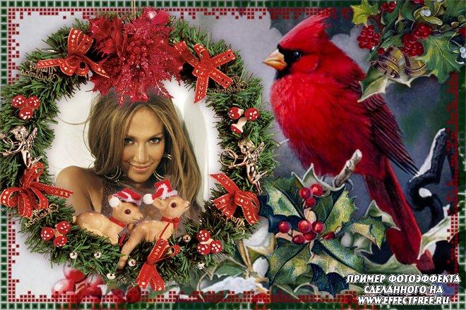 Красочная рамка с оленятами и птицей, сделать онлайн фотошоп