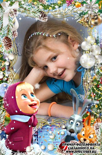 Фоторамка с Машенькой и героями мультфильма зимой, сделать онлайн фотошоп
