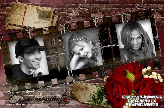 Стильная рамка с красной розой на три фотографии, вставить фото онлайн