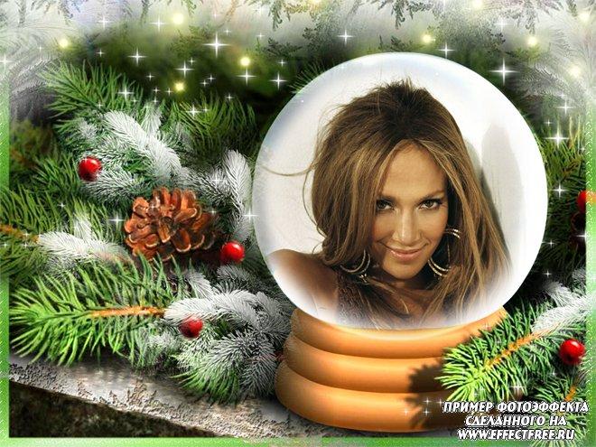 Фоторамочка в новогодней игрушке около елки, вставить фото онлайн