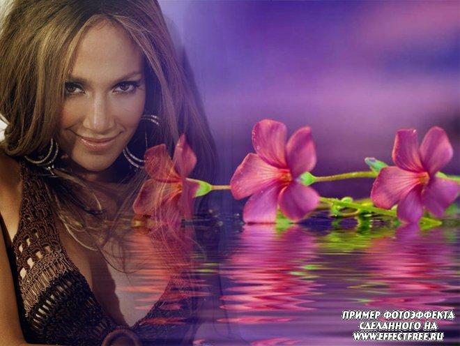 Новый женский фотоколлаж с розовым цветком, вставить фото онлайн