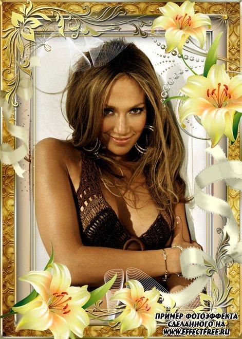 Красивая рамочка с белыми лилиями, вставить фото в рамку онлайн