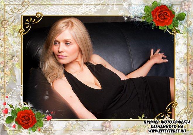Рамка с красными розами на золотом фоне, сделать онлайн фотошоп