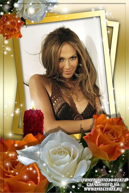 Рамочка с горящей свечей и букетом роз, сделать онлайн фотошоп
