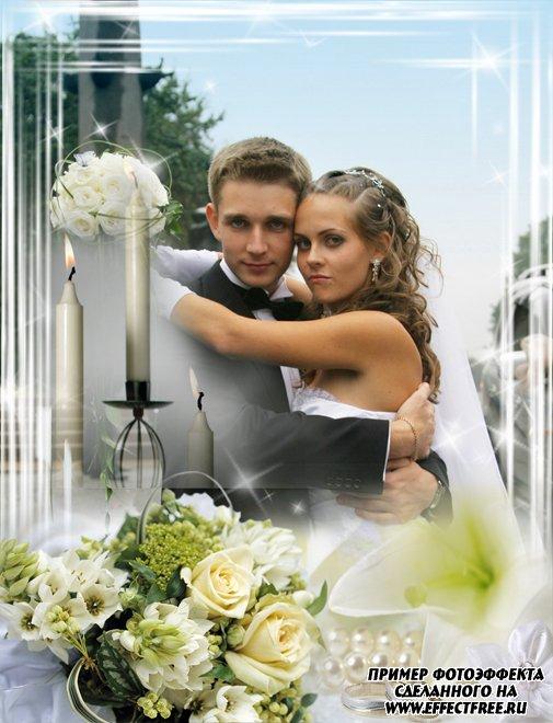 Свадебная рамка со свечами и цветами, сделать онлайн фотошоп