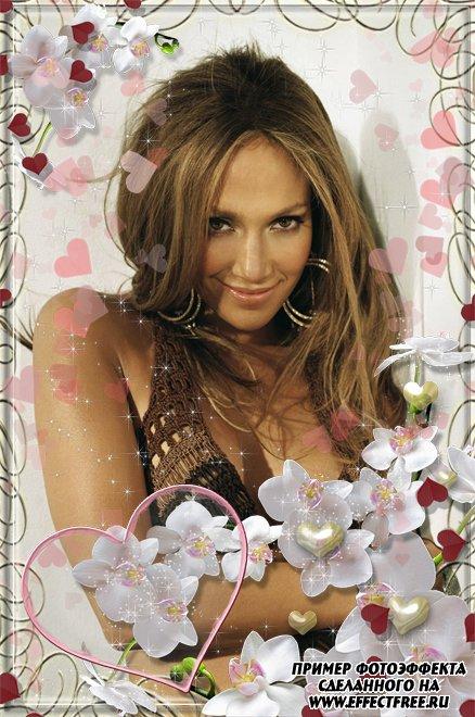 Рамочка-накладка на фото с цветами и сердечками, сделать онлайн фотошоп