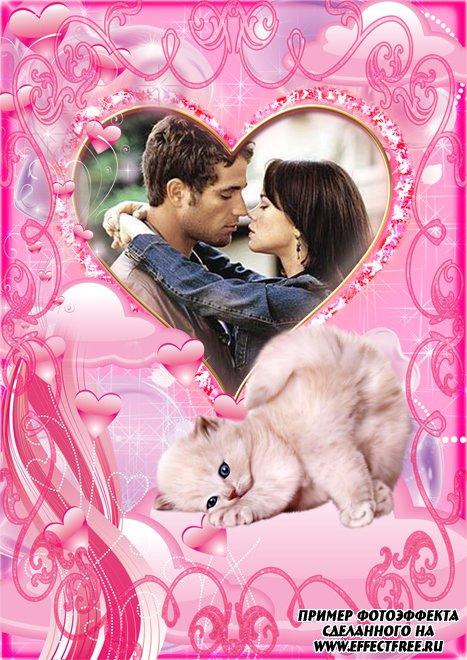 Рамка для фото для влюбленных с пушистым котенком, вставить фото в рамку онлайн
