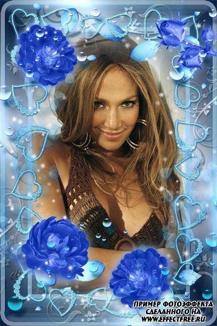 Рамка для фото с голубыми розами, сделать в онлайн фотошопе