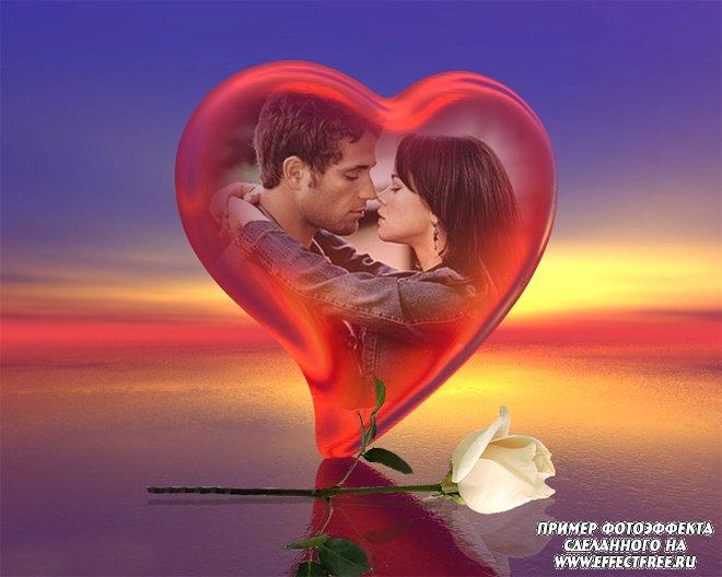Романтический фотоэффект в сердце с белой розой, вставить фото онлайн