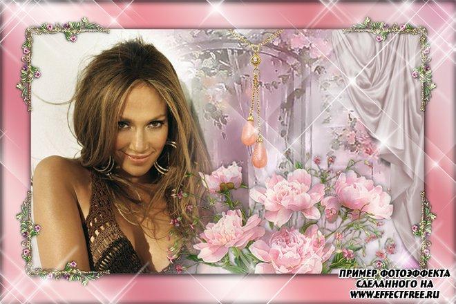 Рамка для фото с нежными розовыми цветами, вставить фотов рамку онлайн