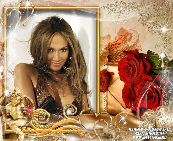 Рамка для фото с золотым амурчиком и цветами, сделать онлайн фотошоп