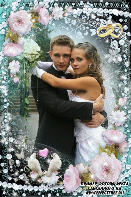 Свадебная рамочка с двумя белыми голубками, сделать онлайн фотошоп