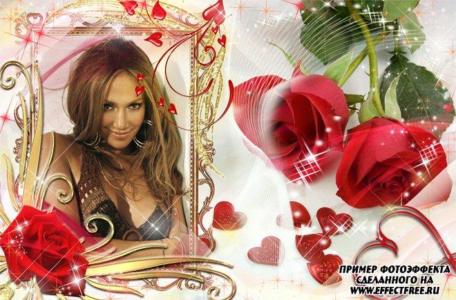 Фоторамка для любимых женщин с красными розами, вставить фото онлайн