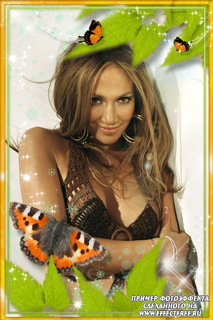 Рамка для фото с красивыми бабочками, сделать онлайн фотошоп