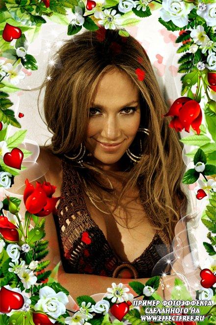 Красивая весенняя рамочка с зеленой листвой и алыми розами, вставить фото онлайн