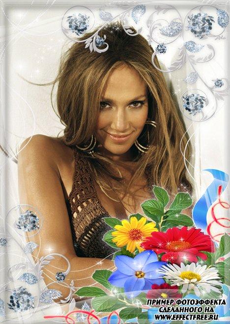 Фоторамочка для женщин с яркими цветами, сделать онлайн фотошоп
